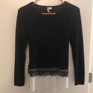 Lace/Sheer bottom Elle Sweater